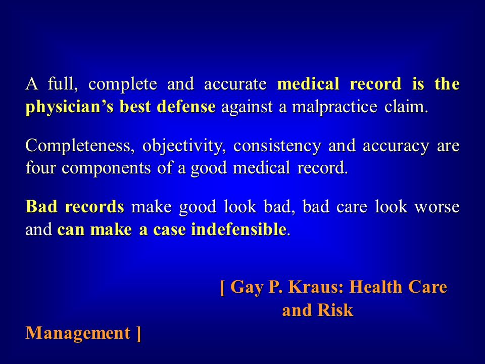 [ Gay P. Kraus: Health Care and Risk Management ]